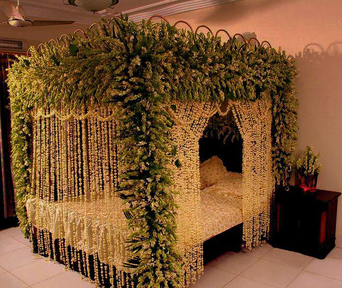 Bedroom decorating ideas for wedding night for Home decor ideas for indian wedding
